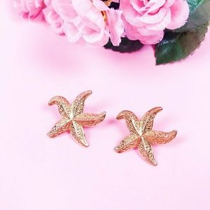 Vintage Gold Colored Starfish Earrings